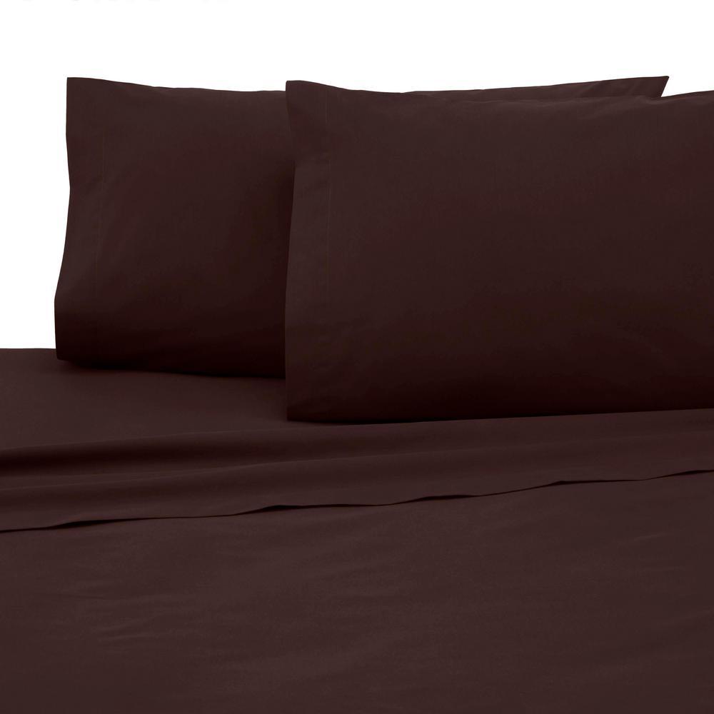 Martex Martex 4-Piece Chocolate Solid 225 Thread Count Cotton Blend Queen Sheet Set, Brown