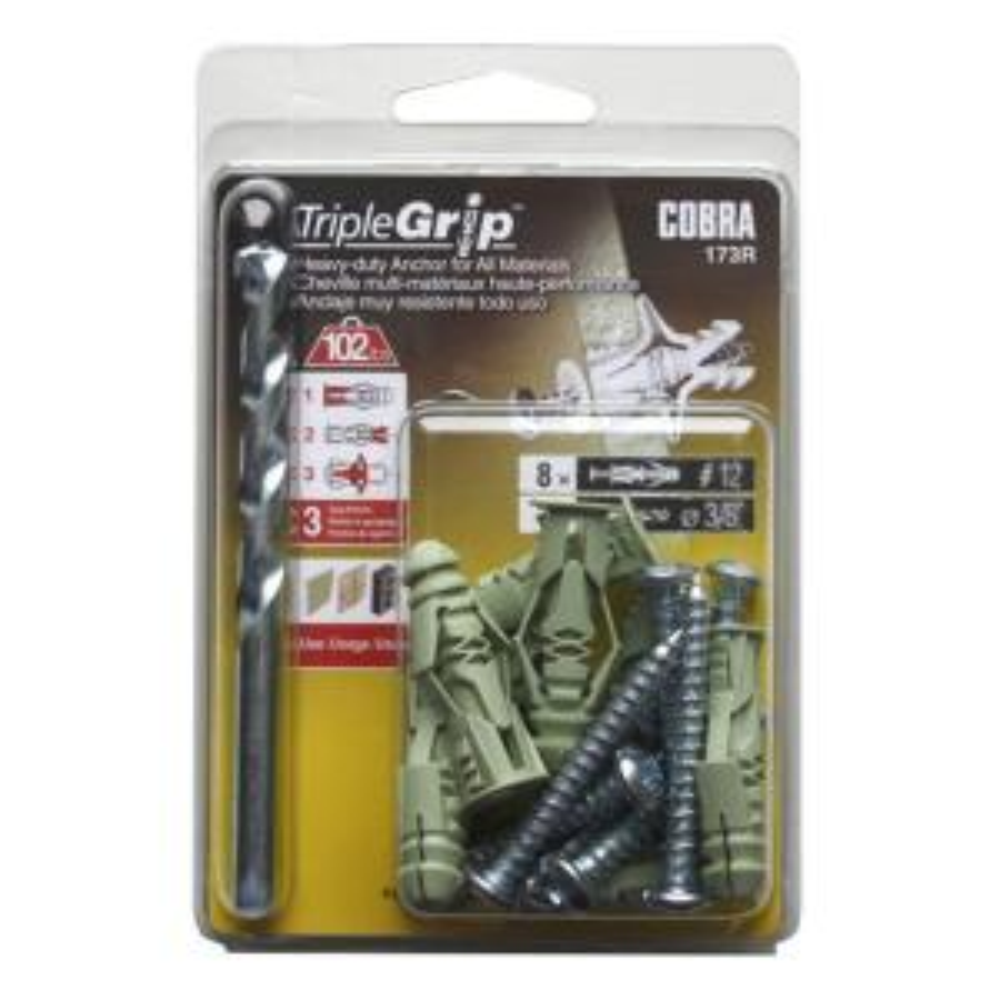 "Plastic Triple Grip Anchors Box of 100 1//4/"" Hole # 8"