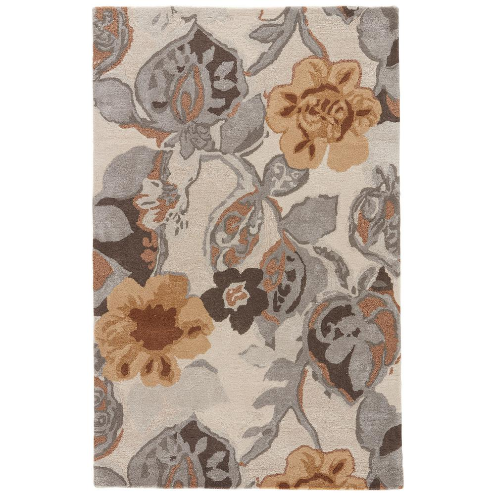 Jaipur Taos Taupe 4 ft. x 6 ft. Floral Area Rug