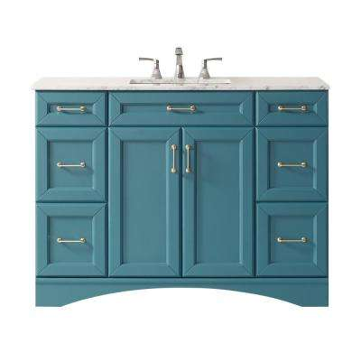 Naples 48 in. Bath Vanity in Green with Carrara Marble Vanity Top in White with White Basin
