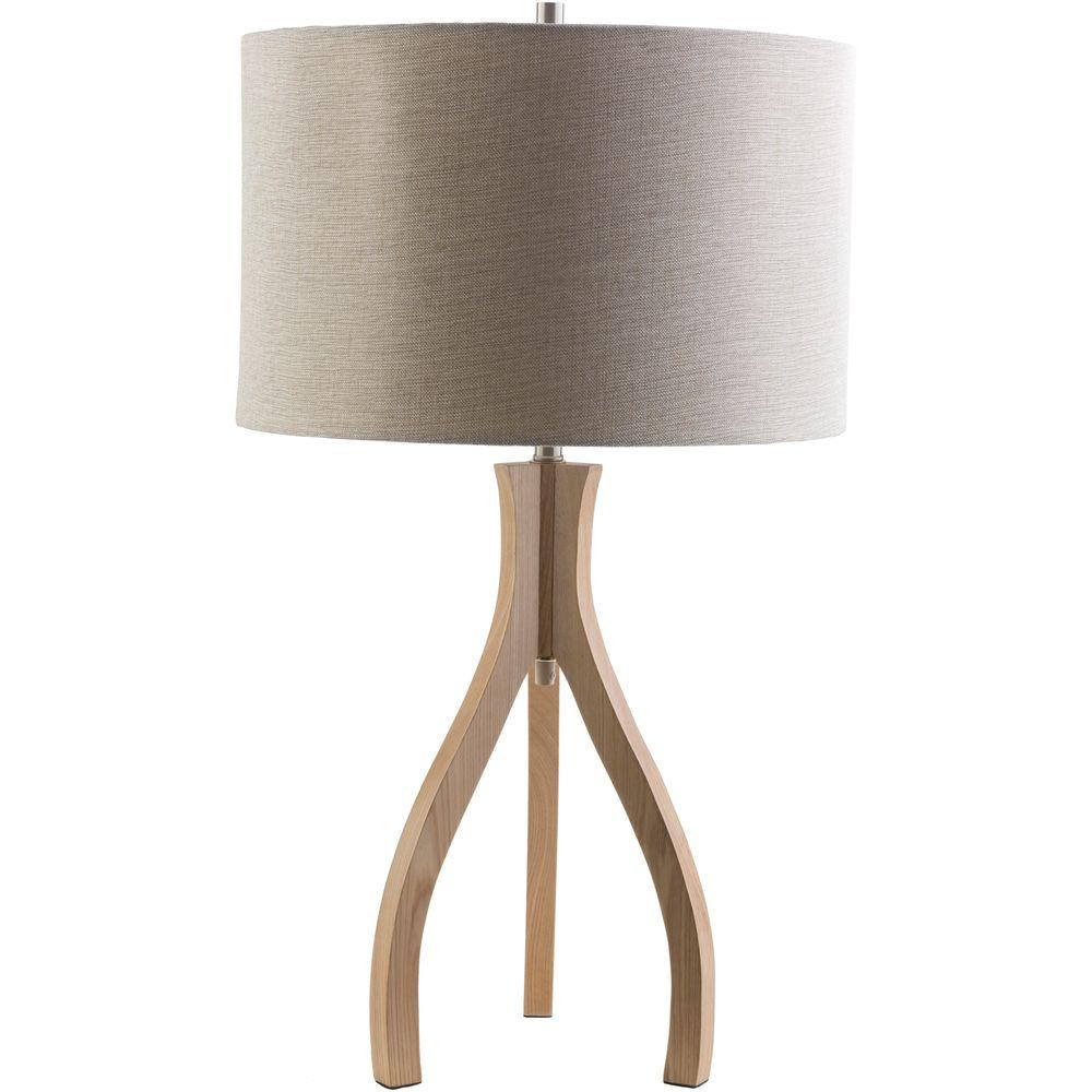 Artistic Weavers Benerito28.74 in. Natural Wood Indoor Table Lamp with Beige Shade