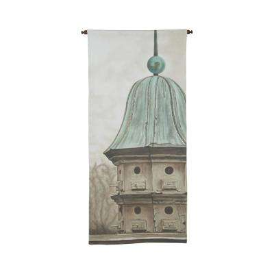 "Gray and Green ""Birdhouse"" Wall Tapestry"