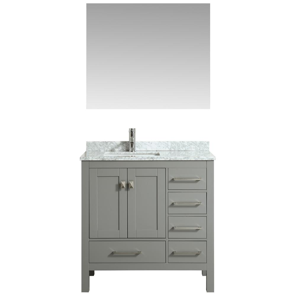 Eviva london 36 in w x 18 in d x 34 in h vanity in grey with carrera marble top in white with for 36 x 18 bathroom vanity cabinet