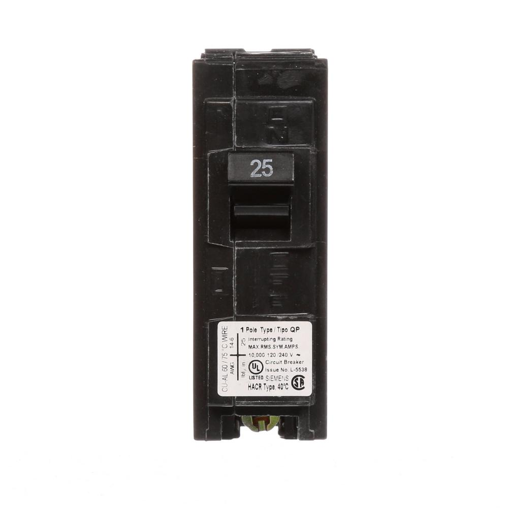 siemens 25 amp single pole type qp circuit breaker q125 the home depot. Black Bedroom Furniture Sets. Home Design Ideas