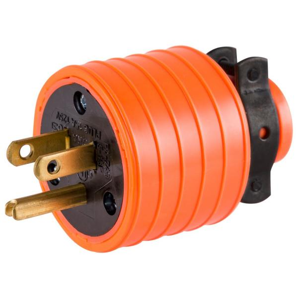 15 Amp Heavy Duty Plug Grounded with Black Metal Clamp, Orange