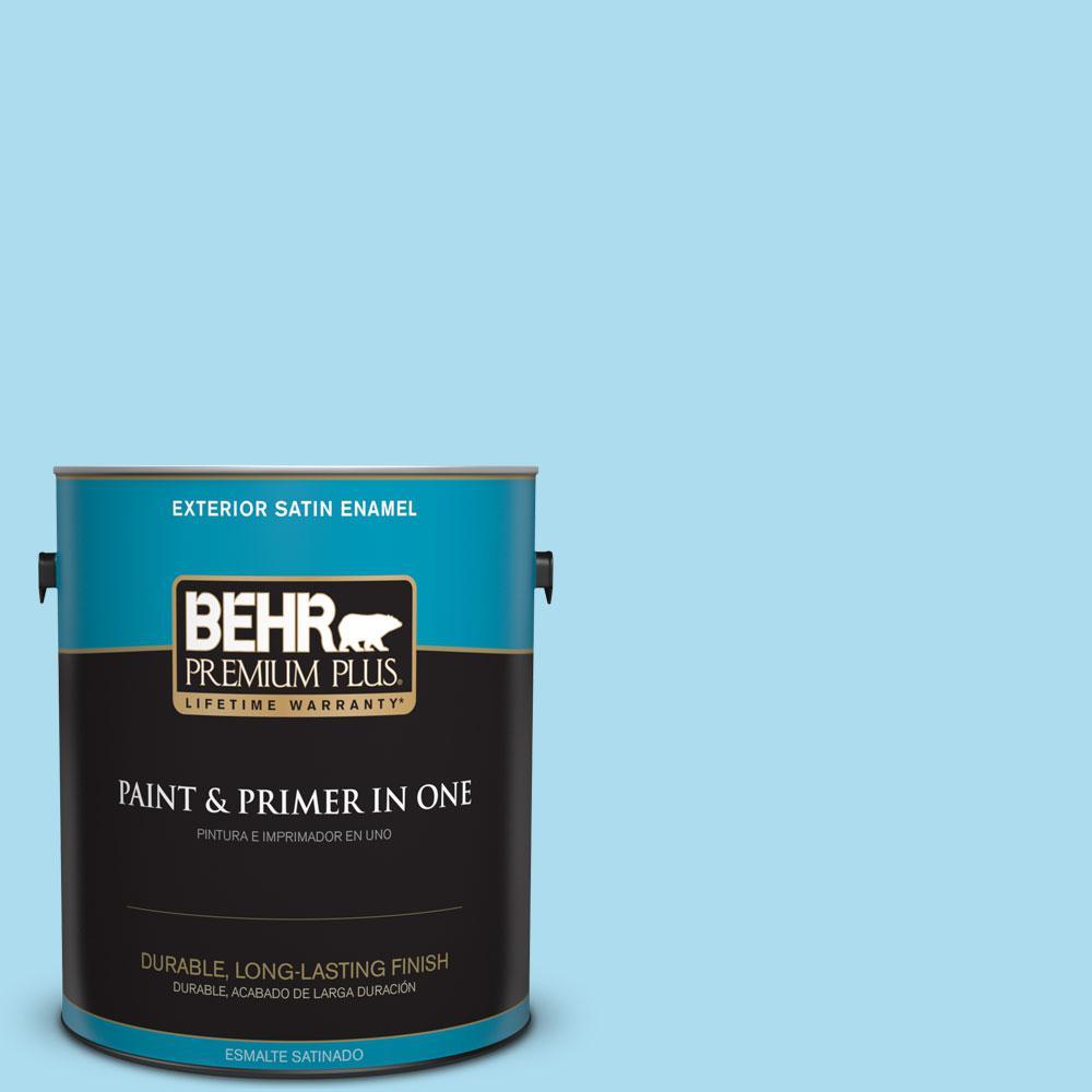 BEHR Premium Plus 1-gal. #530A-3 Frosty Glade Satin Enamel Exterior Paint