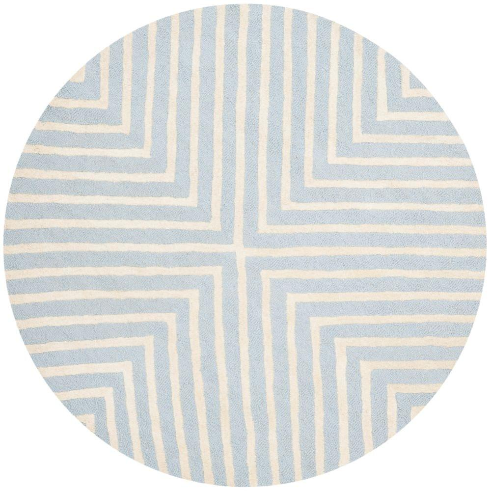 Cambridge Light Blue/Ivory 4 ft. x 4 ft. Round Area Rug