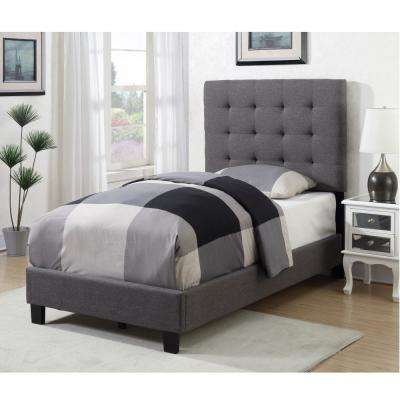 Kenzie Warm Grey Twin Tufted Upholstered Bed