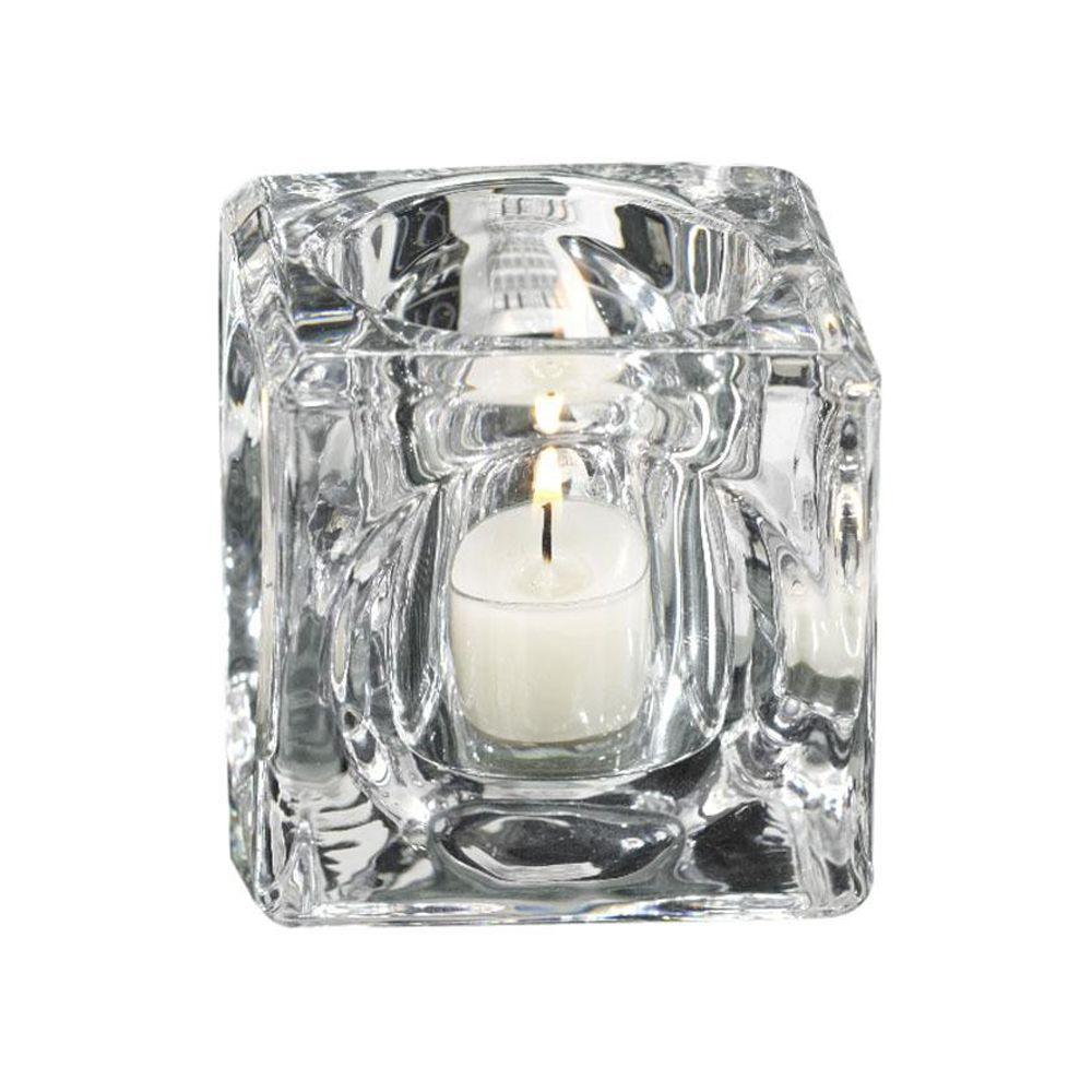 Home Decorators Collection 2.75 in. W Cubic Clear Tealight Candle Holder