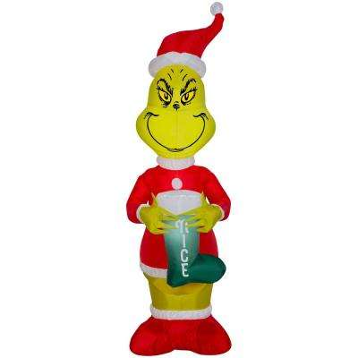 """4 ft. Pre-Lit Inflatable Grinch with """"Nice"""" Stocking"""