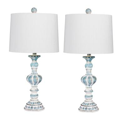 Pair of 26.5 in. Candlestick Resin Table Lamps in a Cottage Antique Blue