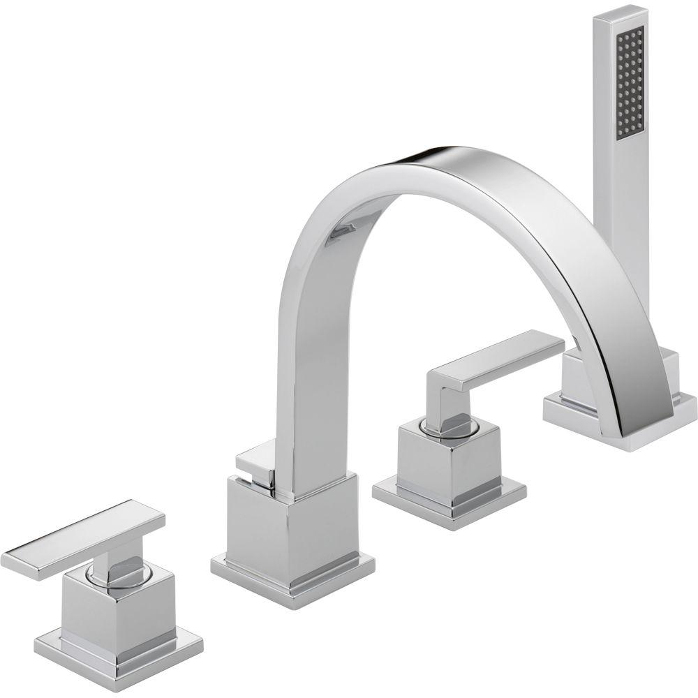 Delta Vero 2 Handle Deck Mount Roman Tub Faucet With Hand Shower Trim Kit