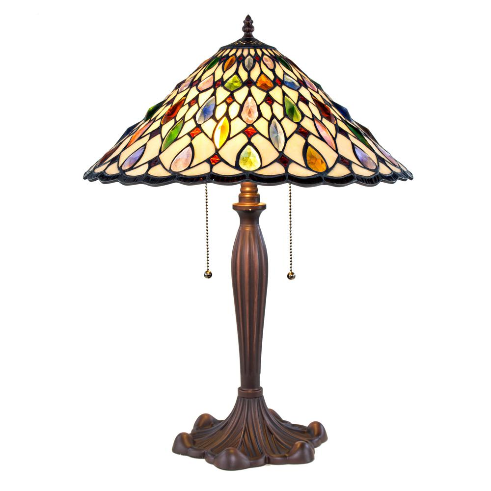 Home Goods Lighting: River Of Goods 24 In. Amber Table Lamp With Stained Glass