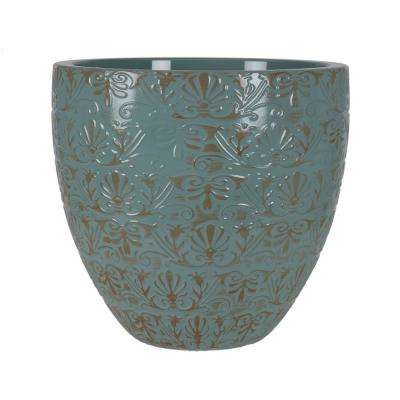 Fairfield 12 in. W x 10.4 in. H Jadeite Patina Resin Decorative Planter