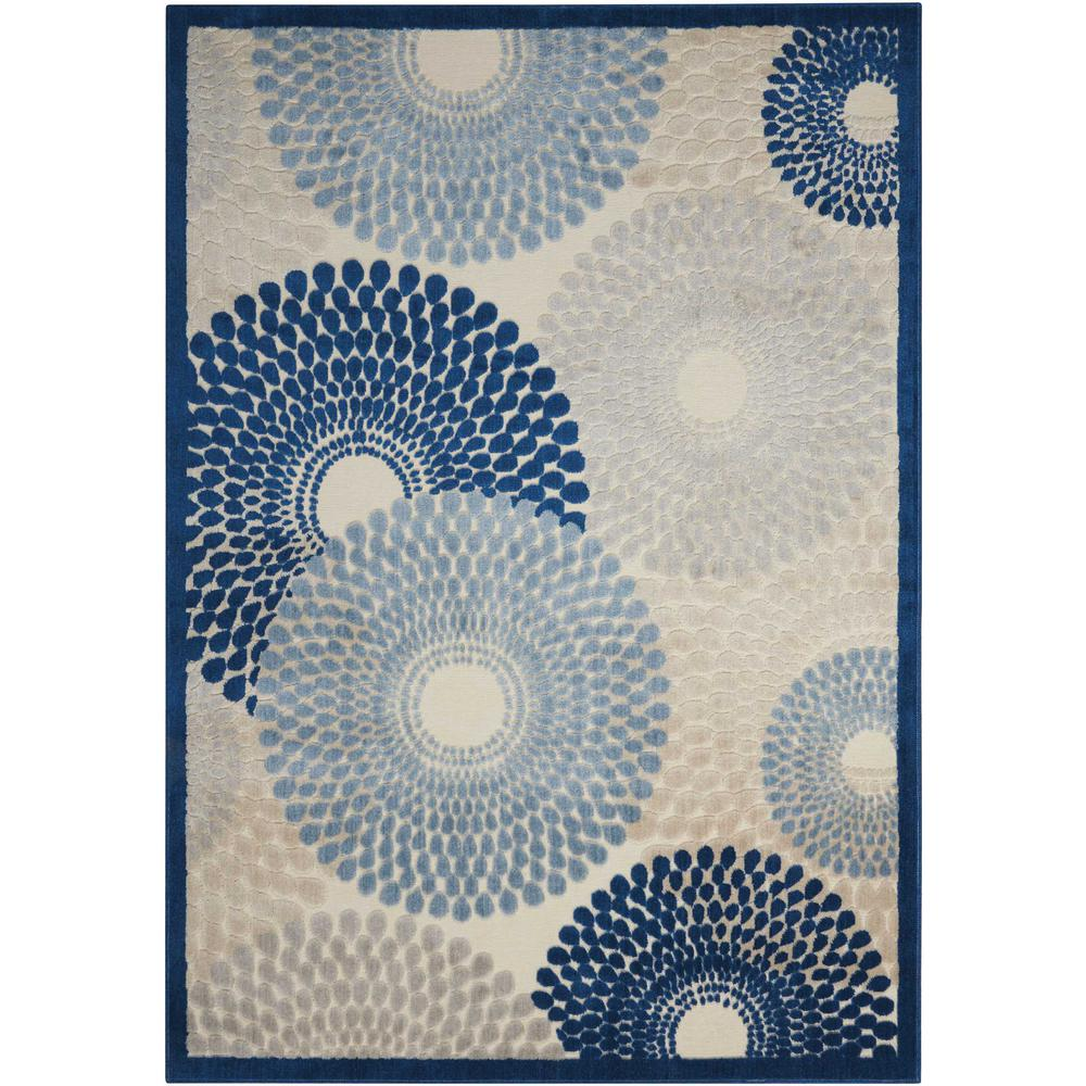 Graphic Illusions Ivory/Blue 2 ft. 3 in. x 3 ft. 9