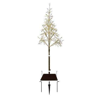 25 in. x 25 in. x 53/61 in. Festive Golden Artificial Christmas Tree with Warm White LED Lights