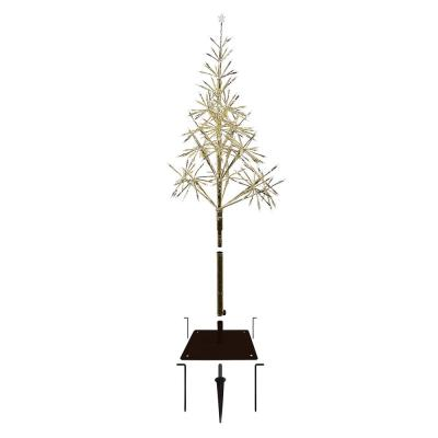 53 in. Tall Indoor/Outdoor Artificial Christmas Tree with Warm White LED Lights, Gold