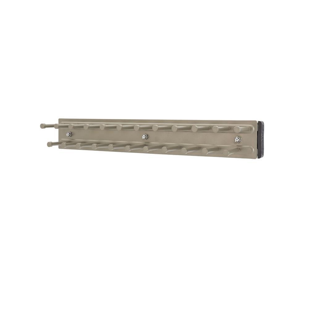 Rev-A-Shelf 2.42 in. H x 2.42 in. W x 12 in. D Satin Nickel Pull-Out Side Mount 23-Hook Tie Rack