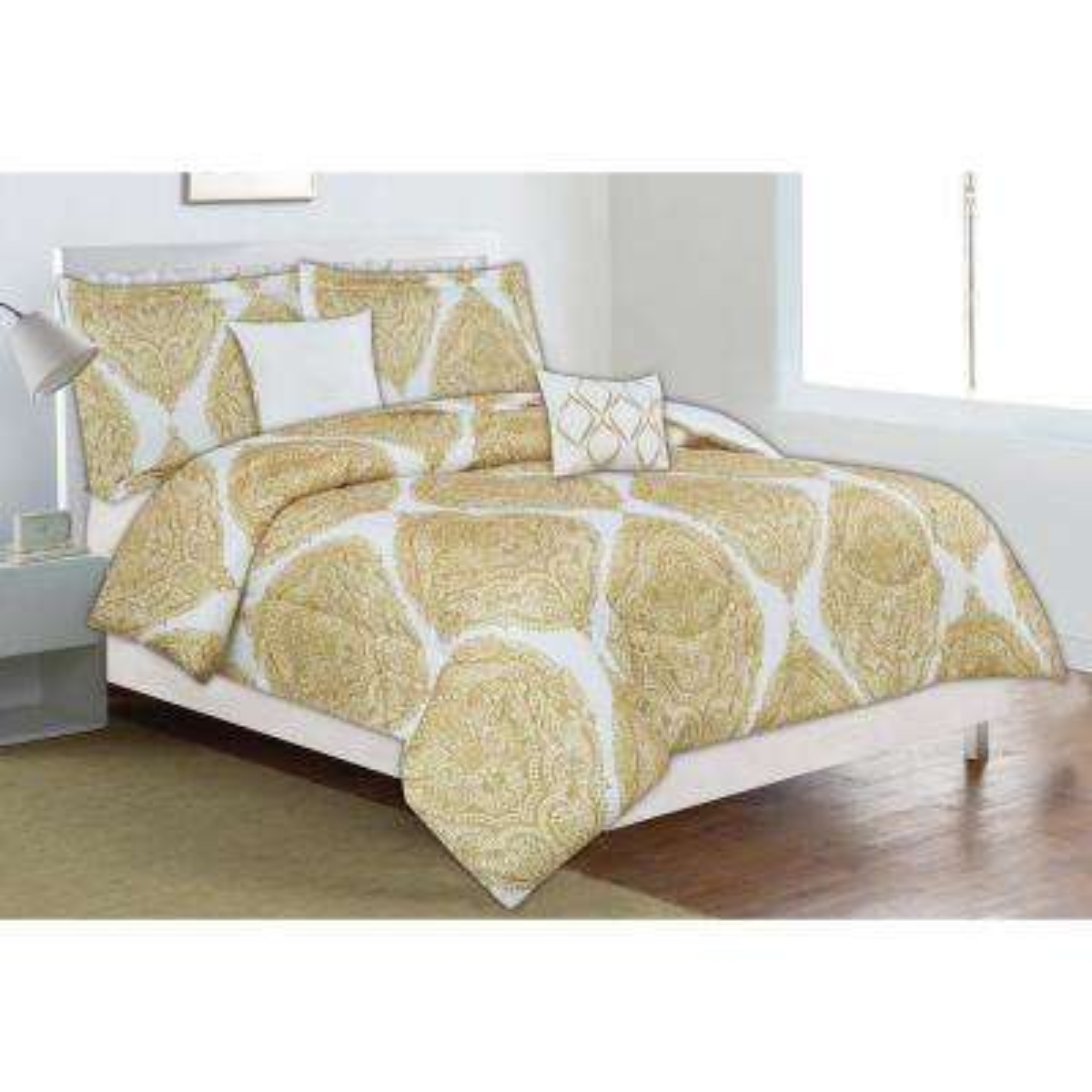 Classic Trends Yellow Medallion 5-Piece Full/Queen Comforter Set