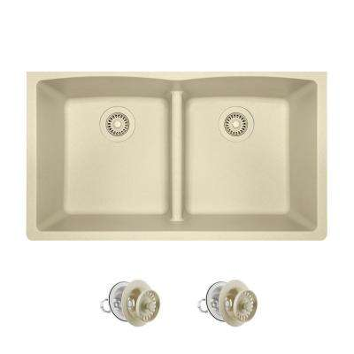 All-in-One Undermount Kitchen Sink Composite Granite 33 in. Low-Divide Equal Double Basin in Beige