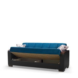 Sensational Ottomanson Armada Emerald Blue Wooden Armed Sofa Sleeper Bed Frankydiablos Diy Chair Ideas Frankydiabloscom