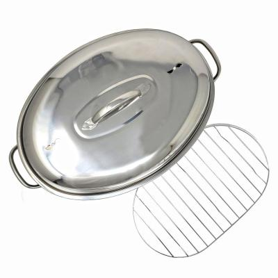 Professional Stainless Steel Oval Roaster Serving Tray Set