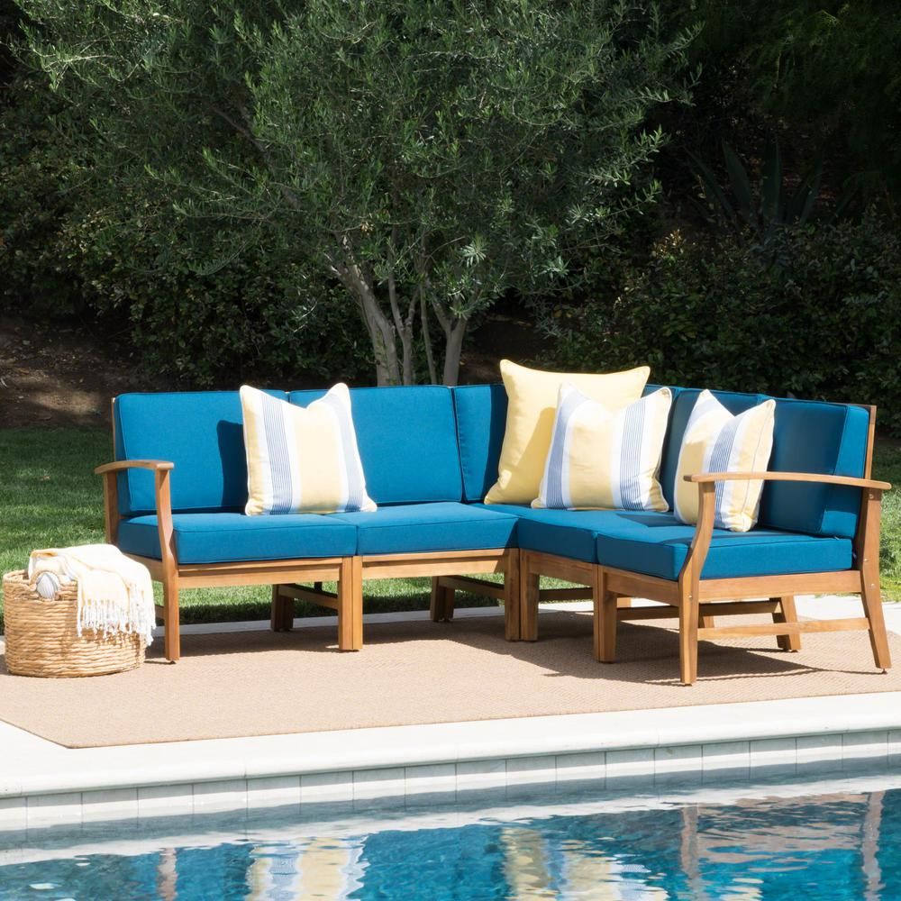 Noble House Lilian Teak Finish 5-Piece Wood Outdoor ... on 5 Piece Sectional Patio Set id=21055