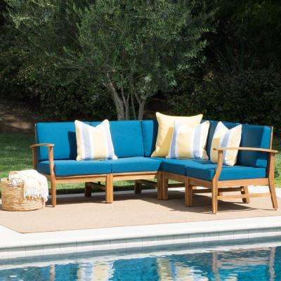 Lilian Teak Finish 5-Piece Wood Outdoor Sectional Set with Blue Cushions