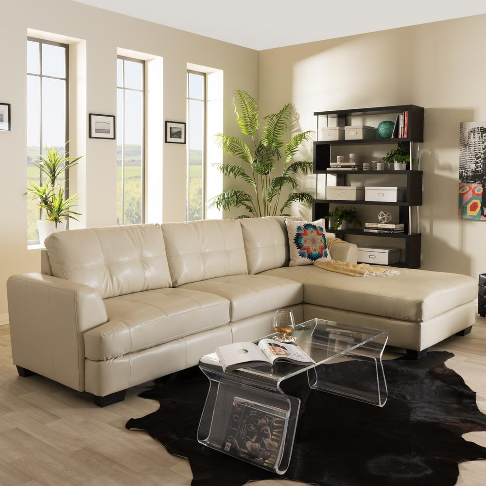 Contemporary Sectional: Baxton Studio Dobson Contemporary Cream Bonded Leather