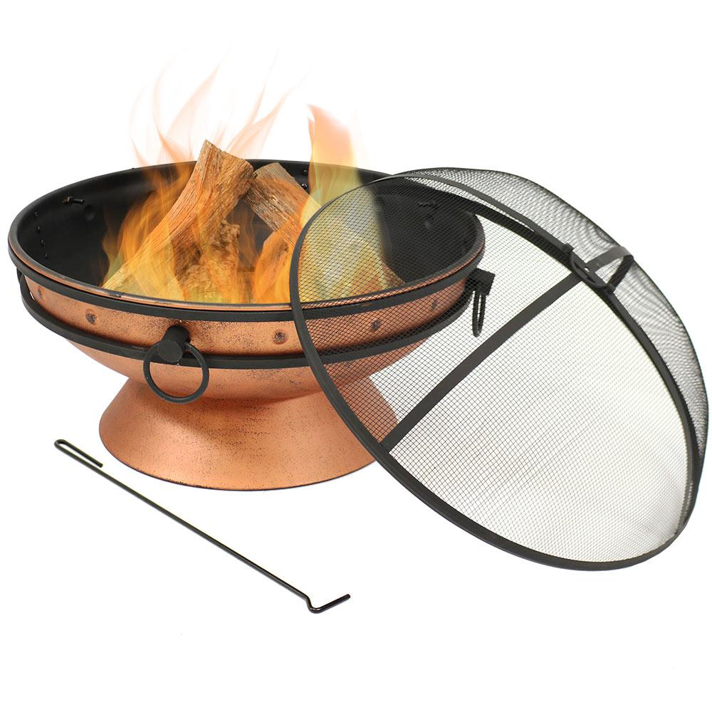 Sunnydaze Decor 30 in. Copper Royal Cauldron Fire Pit with Handles and Spark Screen