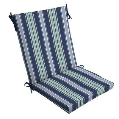 20 x 20 Sapphire Aurora Stripe Outdoor Dining Chair Cushion