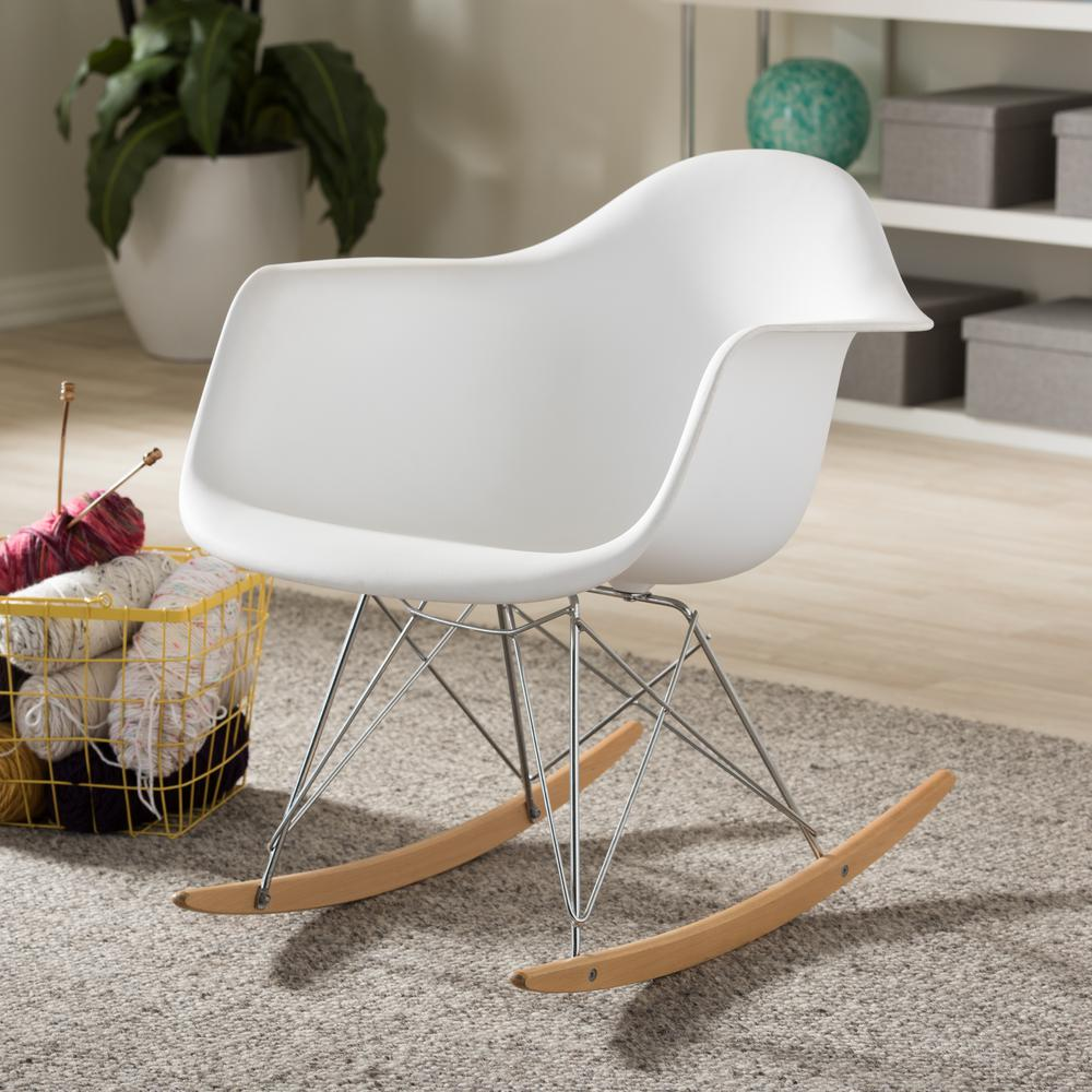 Dario Mid-Century White Plastic Finished Rocking Chair