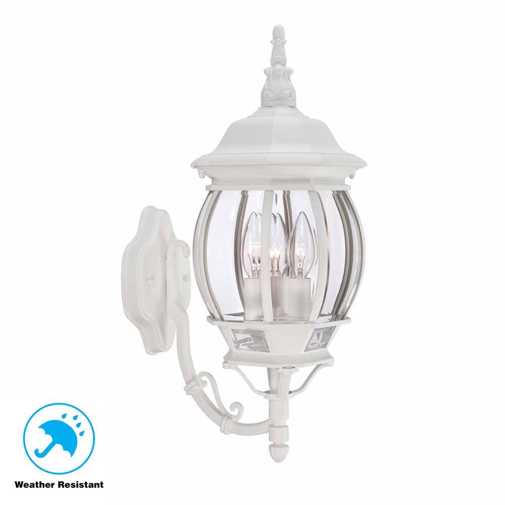 Hampton Bay 3 Light White Outdoor Wall Lantern Sconce