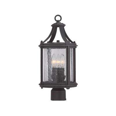 Palencia 3-Light Artisan Pardo Wash Outdoor Incandescent Post Lantern