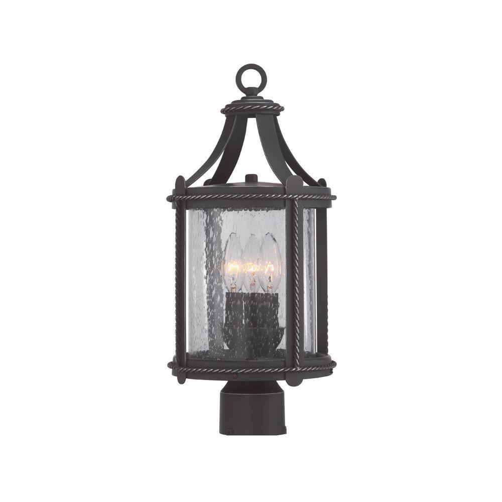 Palencia 3-Light Artisan Pardo Wash Outdoor Incandescent Post Lantern