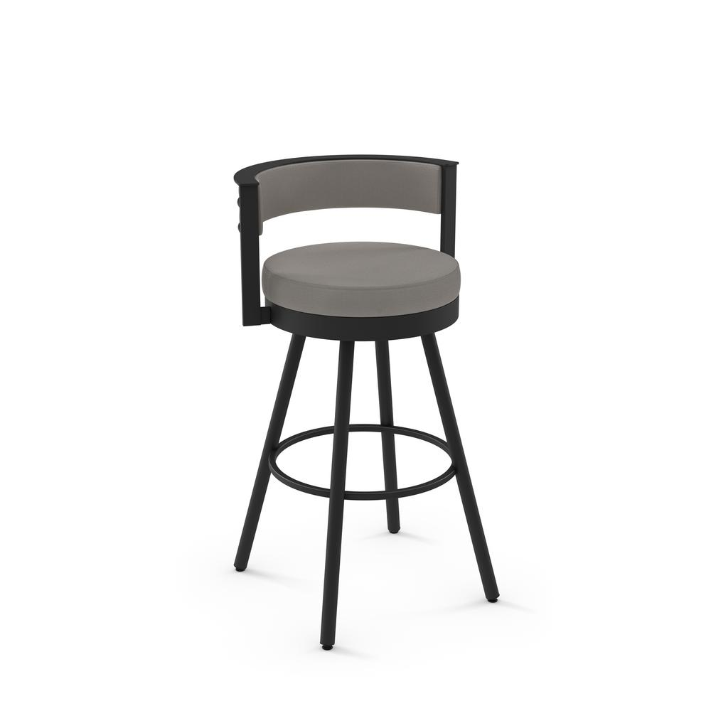Eller 26 in. Taupe Grey Faux Leather / Black Metal Counter Stool