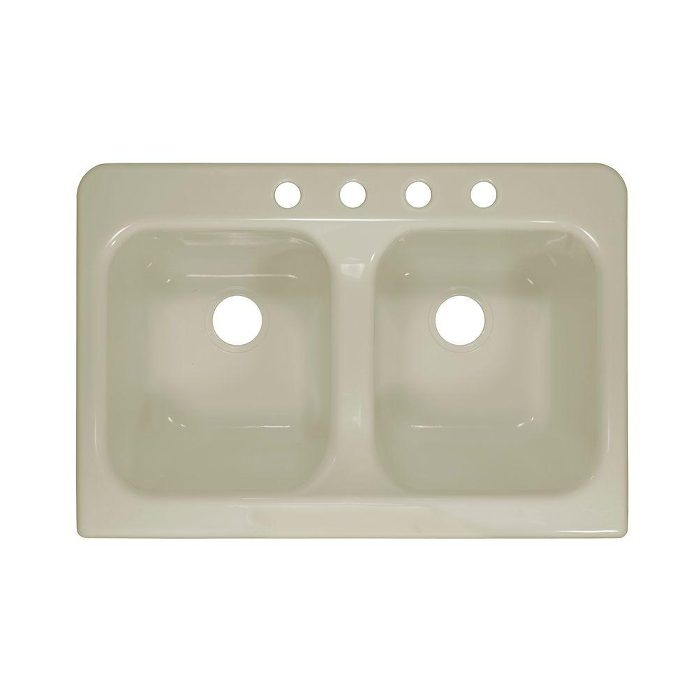 Lyons Industries Apron Drop-In Acrylic 34 in. 4-Hole 50/50 Double Basin Kitchen Sink in Biscuit