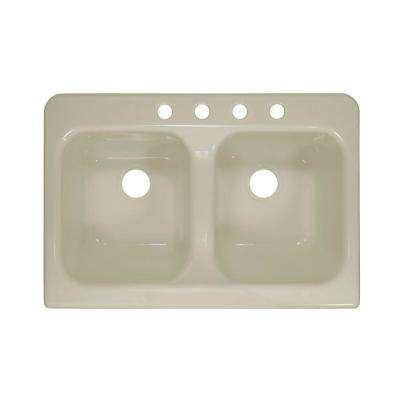 Apron Drop-In Acrylic 34 in. 4-Hole 50/50 Double Bowl Kitchen Sink in Biscuit