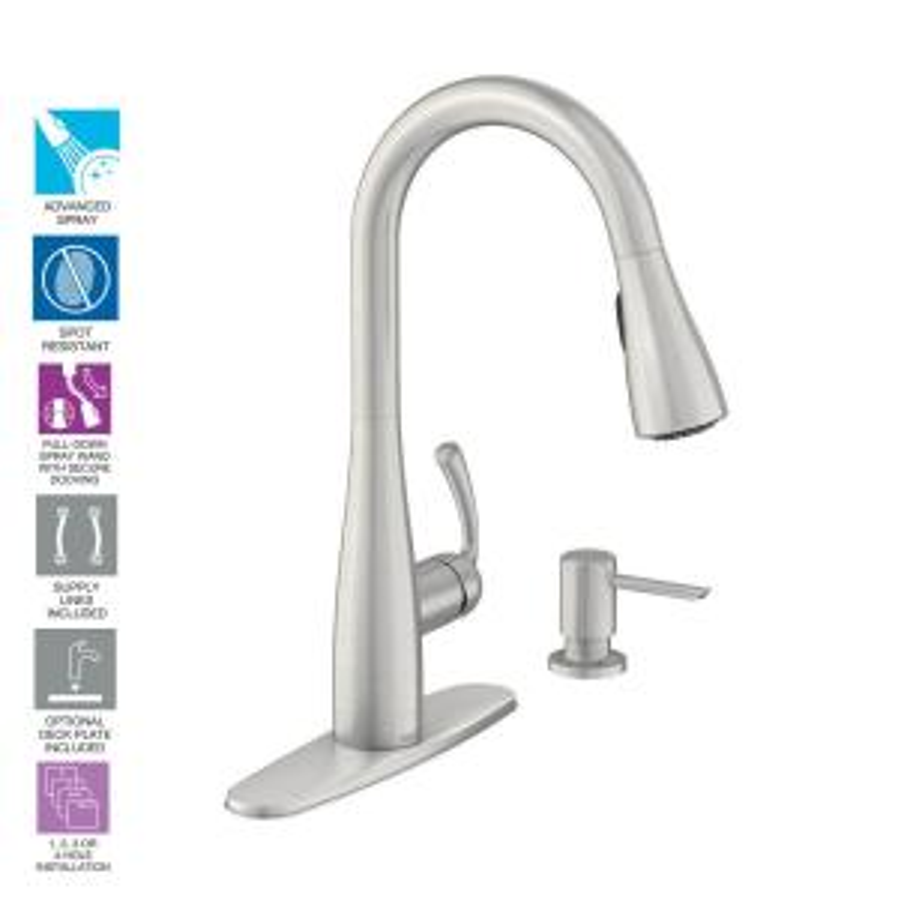 MOEN Essie Single-Handle Pull-Down Sprayer Kitchen Faucet Deals
