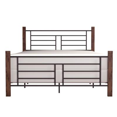 Raymond Textured Black and Weathered Dark Brown Queen Horizontal and Vertical Design Bed