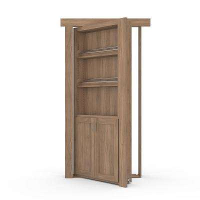 36 in. x 80 in. Flush Mount Assembled Forward Pantry Door Walnut Unfinished Left-Hand Inswing