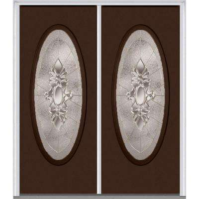 60 in. x 80 in. Heirloom Master Right-Hand Inswing Oval Lite Decorative Painted Fiberglass Smooth Prehung Front Door