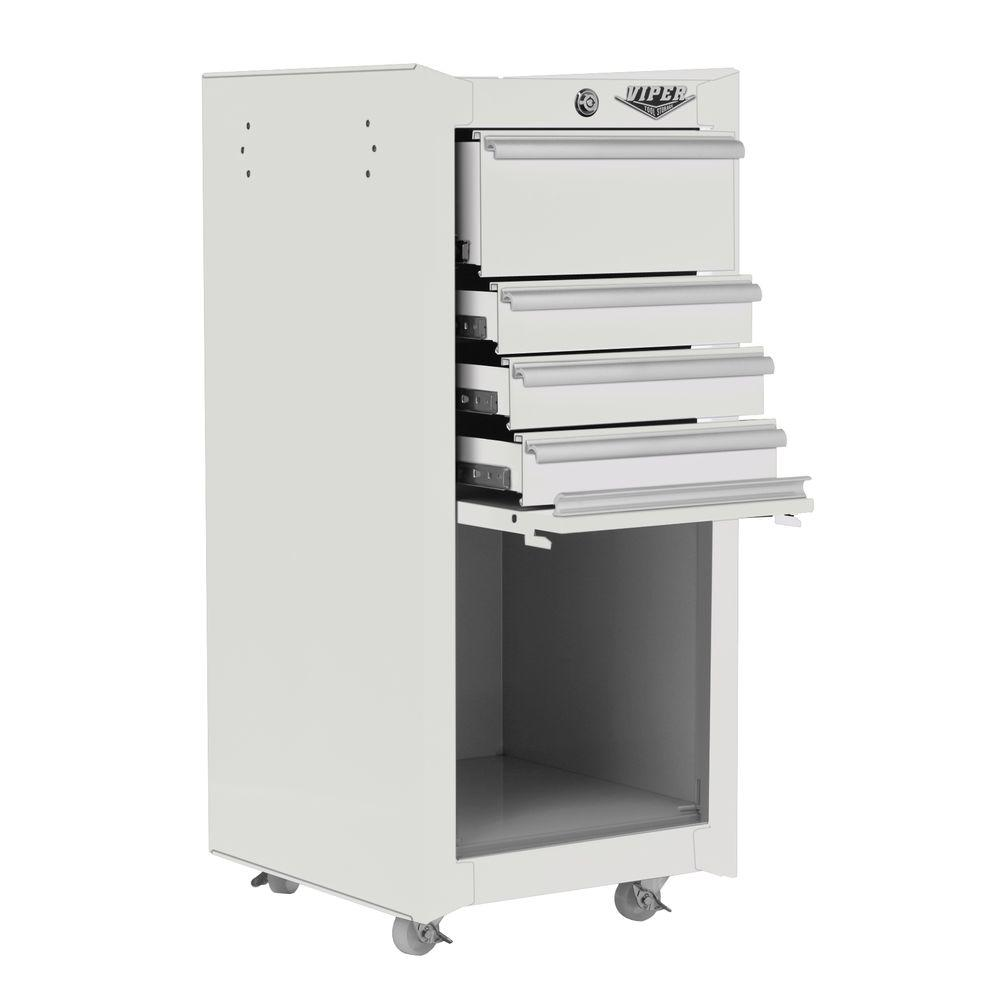 Viper Tool Storage 16 in. 4 Drawer Tool/Salon Cart in White