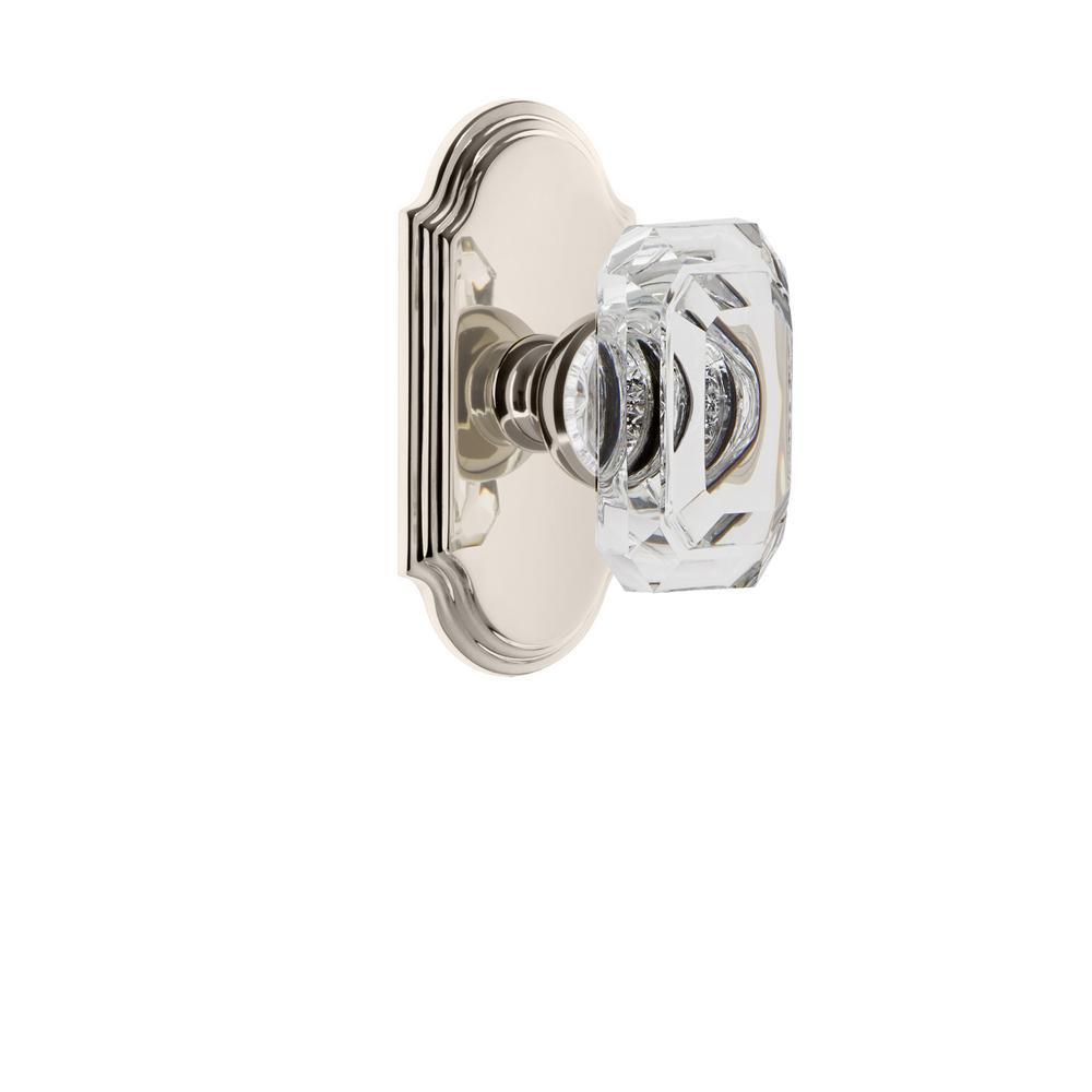 Arc Plate 2-3/4 in. Backset Polished Nickel Passage Hall/Closet with Baguette