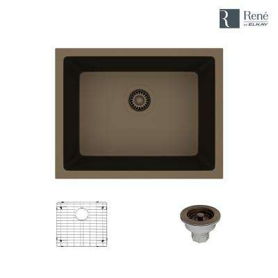 Dual-mount Composite Granite 21-5/8 in. Single Bowl Kitchen Sink in Umber