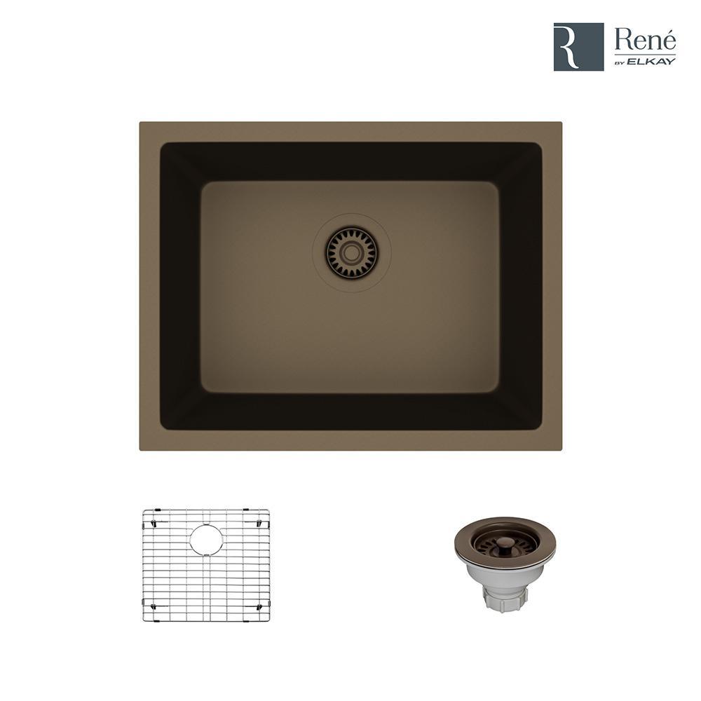 Dual-mount Composite Granite 21-5/8 in. Single Bowl Kitchen Sink in Umber