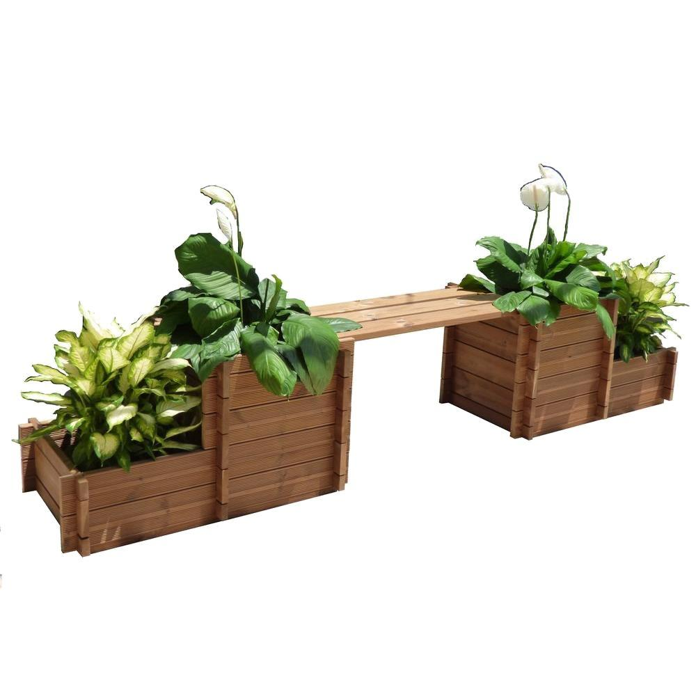 116 in. x 34 in. Wood Bench Planter, Brown