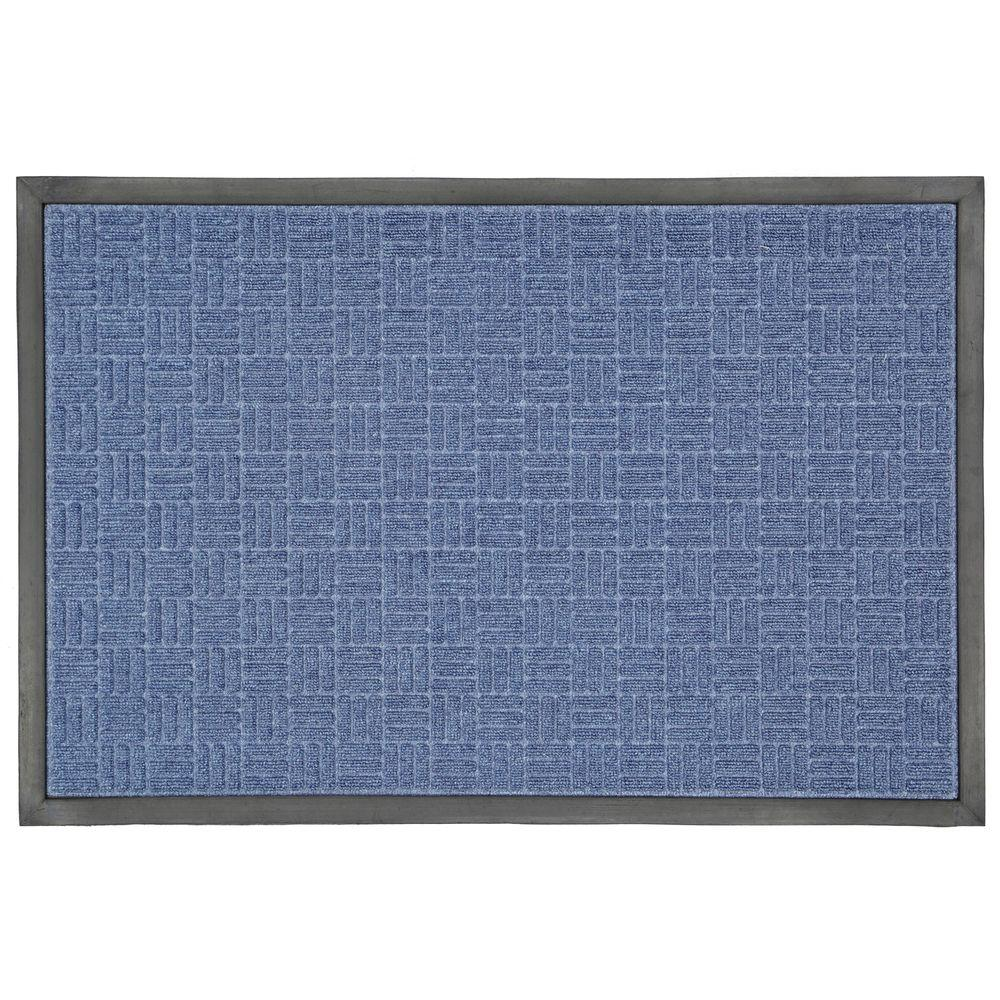 Blue 23.5 in. x 35.5 in. Rubber Commercial Door Mat