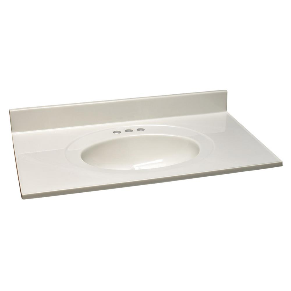 19 in. Cultured Marble Vanity Top in White on White with