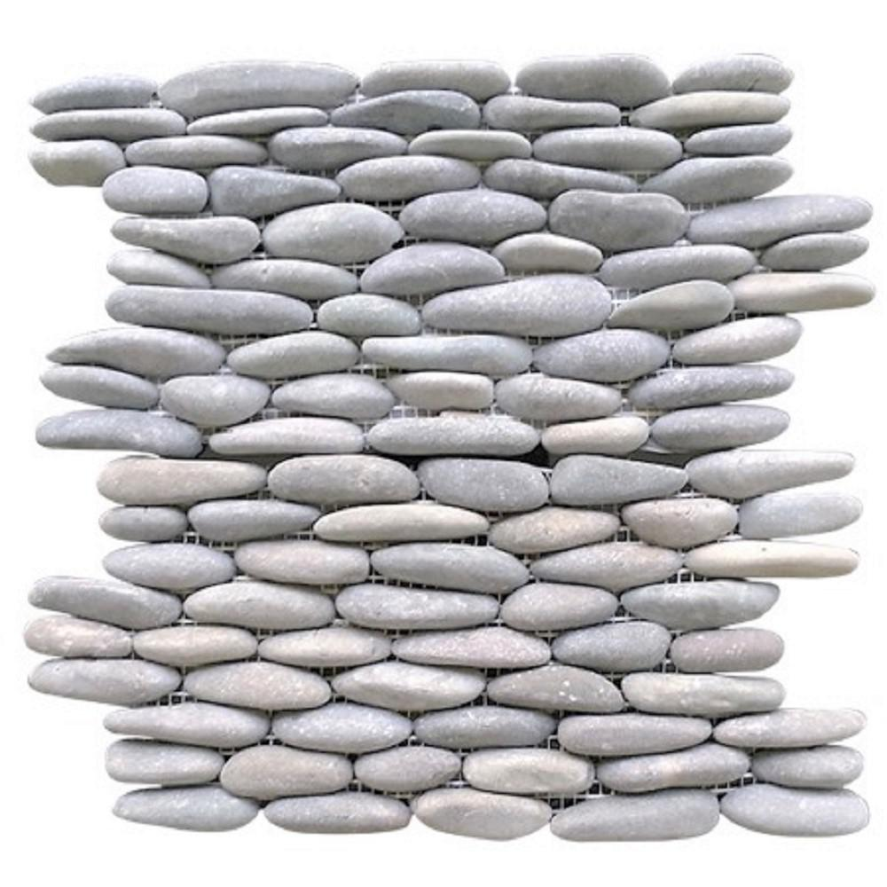 Rain Forest Light Grey Stacked 12 in. x 12 in. x 0.75 in. Natural Finnish Stone Pebble Wall Tile (5.0 sq. ft. / case)